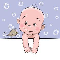 Dessin animé mignon bébé garçon - Illustration vectorielle