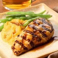 Maple-Glazed Chicken Breasts: Servings: 2 servings Prep: 20 mins Total: 2 hrs 20 mins  INGREDIENTS 2 tablespoons  pure maple syrup 1 tablespoon  reduced-sodium soy sauce 2 teaspoons  lemon juice 1 clove  garlic, minced 1 teaspoon  minced fresh ginger 1/4 teaspoon  freshly ground pepper 2   boneless, skinless chicken breasts