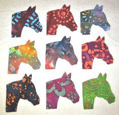 Set of 9 Batik Horse Head Iron-on Cotton Fabric Appliques for Quilts Apparel Etc…