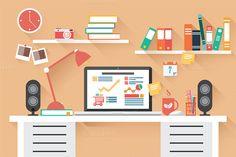 Flat Design Office Desk 02 by Blue Lela Illustrations on Creative Market