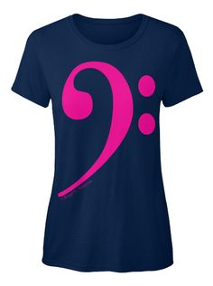 A new design of our popular Bass Clef shirt.  It features the Bass Clef (clef of tubas, trombones, basses, cellos, and more) in a simple and elegant PINK on as many as 6 different colors!This version of the shirt is entirely in a Standard Women's T-Shirt.Enjoy.
