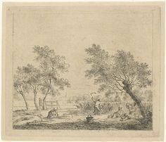 Johannes Janson | Landschap met korenoogst, Johannes Janson, 1783 | Landschap met boerin die koren bijeen bindt en een boer die koren oogst. Rechts op de voorgrond twee mannen, zittend en liggend onder een boom (aangepast ten opzichte van vorige staten). Links op de achtergrond een wandelende man. Vóór de lucht. Negende prent uit een serie van dertien met maanden.