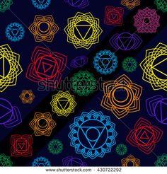 Mandala, seamless tribal pattern indian medallion, kaleidoscope. Background bohemian, decorative ornament element. Yoga vector design. 7 chakra mandalas.