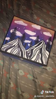 Sunset in the mountains painted box!! Follow for more!! #acrylicpainting #paint #painting #painted #keepsakeboxes #mountains #sunset #paintingideas #diy #art #artwork #artideas #tiktok #artvideos #followformore