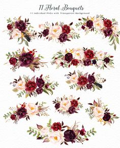 Watercolor flower Clip Art-Marsala This is a mini pack - Marsala from Tribe flower collection. The main color way of this pack is burgundy, it is very perfect for your wedding stationery in rustic, boho chic, vintage style.