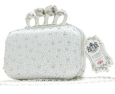 LYDC LONDON Strass Schlagring Clutch Damen Ring Tasche (Ivory)
