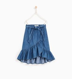 DENIM SKIRT WITH FRILL-SKIRTS AND SHORTS-GIRL | 5 - 14  years-KIDS | ZARA United States