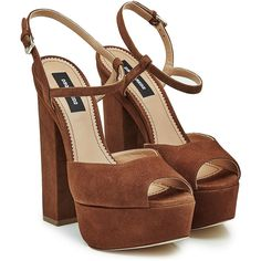 Dsquared2 Suede Platform Sandals ($599) ❤ liked on Polyvore featuring shoes, sandals, brown, ankle strap platform sandals, brown sandals, brown platform sandals, open toe sandals and high heel platform sandals
