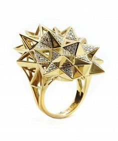 """""""Stellated Star Diamond Ring"""" Verahedra Series: A series of complex, interlocking geometries reminiscent of Euclidean geometries and ancient architecture from the Egyptian, Mayan and Sumerian temples.   http://johnbrevard.com/stellated-star-diamond-ring-2307"""