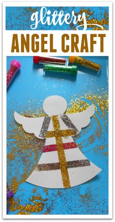 Glittery Angel - Easy Christmas Craft - No Time For Flash Cards - Christmas With Little Kids Christian Christmas Crafts, Christmas Angel Crafts, Christmas Crafts For Adults, Preschool Christmas, Toddler Christmas, Christmas Activities, Xmas Crafts, Baby Crafts, Simple Christmas