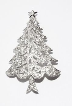 Vintage signed HEDY clear rhinestone CHRISTMAS Tree BROOCH pin  costume jewelry #Hedy