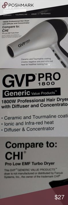 GVP PRO 1800 Generic, both tourmaline and ceramic! NIB, Never used in box, includes a diffuser, and two concentrator nozzles, 2 speeds, 2 temperature settings and creates healthier looking hair! Quiet speed motor, lightweight the hair dryer has both tourmaline and ceramic coatings. Tourmaline, a pure, precious gemstone and is a natural source of negative ions, that eliminate frizz and close the cuticle to create silky, shiny hair. Far-infrared heat penetrates hair from within, resulting in…