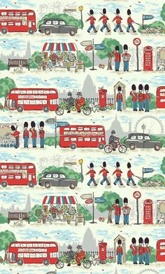 A fun, colourful tribute to our favourite city brimming with London icons . Guards, Beefeaters, buses, taxis and more . set against an unmistakably London landscape . London Icons, London Art, London Street, London Illustration, Pattern Illustration, Cath Kidston Wallpaper, Cath Kidston London, Wallpaper Fofos, Fallen London