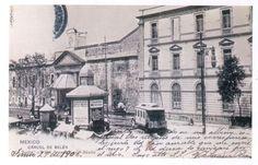 Postal con dedicatoria, imagen de la Cárcel General de Belem,la prisión  antiguamente ubicada en la esquina de Arcos de Belem y Avenida Niños Héroes, al extremo noroeste de la Ciudad de México. Hoy Centro Escolar Revolucion. 27 de Junio de 1906