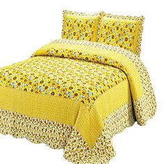 100% Cotton 3-Piece Polka Dot Sunflower Patchwork Bedspreads Quilt Sets Queen. Bedspreads can be much easier than dealing with bedskirts and comforters. #bedspread #bedding #sunflowers #funkthishouse