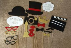 Hollywood themed photo booth props.  Birthday party/ wedding.  For sale! Personalize!