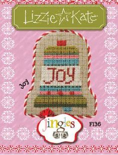 """Jingles Flip It - Joy by Lizzie Kate is a small cross stitch pattern and is pattern #11 in a 12 pattern Lizzie Kate flip it series titled """"Jingles"""". The cross stitch pattern is stitched with Weeks Dye Works or DMC equivalent provided. The pattern comes with a tiny button. If you wish all 12 cross patterns in one pack, click on highlighted link to order."""