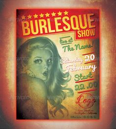 Burlesque Show Poster Template — Photoshop PSD #grunge #star • Available here → https://graphicriver.net/item/burlesque-show-poster-template/5944603?ref=pxcr