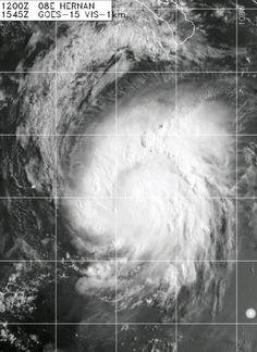 Se espera que la Tormenta Tropical #Hernan evolucione a Huracán Cat-1 en la noche de hoy. Mantiene vientos de 110 kmh. Actualmente se dirige a mar abierto. Sus bandas de nublados alcanzan el Sur de Baja California, México.