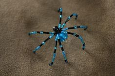 Aqua Spider  Beaded Christmas Spiders by Holly Greene