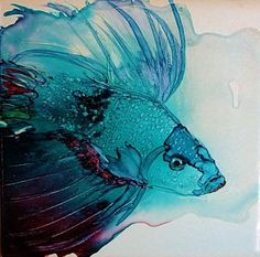 Alcohol Ink Painting - Betta Dragon Fish by Marcia Breznay