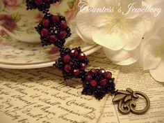 Gothic smaller size red and black bracelet beaded with
