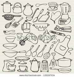 Kitchen elements doodle vector by Ohn Mar, via ShutterStock