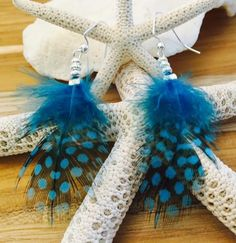 Spotted Feather Earrings (teal blue) --- https://www.etsy.com/shop/AquaMystic
