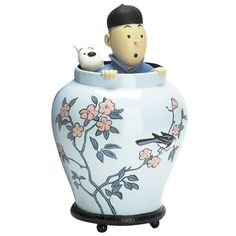 Tintin in oriental vase - blue lotus Artisan & Artist, Blue Lotus, Ceramic Clay, Earthenware, Oriental, Vase, Pure Products, Cool Stuff, Comics