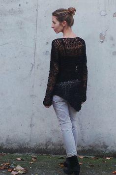 armadura del suéter de tamaño grande negro suelto por ileaiye