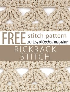 Rickracks Stitch Pattern from Crochet! magazine. Download here: http://www.crochetmagazine.com/stitch_patterns.php?pattern_id=121  •✿•  Teresa Restegui http://www.pinterest.com/teretegui/ •✿•