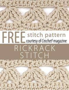 Rickracks Stitch Pattern from Crochet! magazine. Download here: http://www.crochetmagazine.com/stitch_patterns.php?pattern_id=121