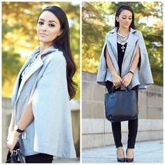 Latest #ootd now up on the blog: MayteDoll.Blogspot.Com #capesforfall #style #whatiwore #fashionblogger #greyandblack