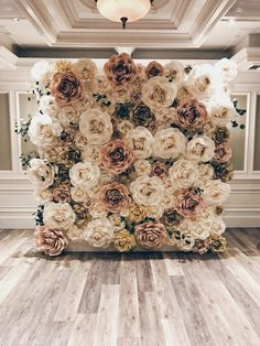 18 Trendy Ideas For Wedding Backdrop Decorations Floral Wall Flower Wall Backdrop, Paper Backdrop, Wall Backdrops, Paper Flower Wall, Backdrop Decorations, Wedding Decorations, Photo Backdrops, Floral Backdrop, Wedding Ideas
