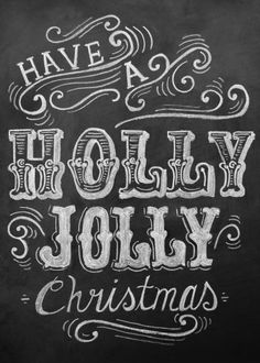 Chalkboard Christmas Card - Vintage Holiday Card #typography