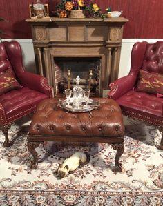 Dollhouse MiniatureSigned Artisan Gail Steffey NEW DESIGN Leather Table Ottoman