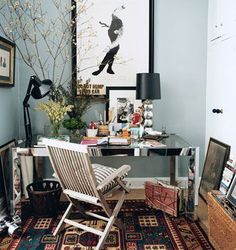 home office workspace. comfy. great green gray wall color
