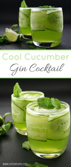 This cool cucumber gin cocktail is a such a refreshing and light beverage that you may just turn into a permanent gin lover. Imagine yourself sipping this on a hot summer day on your back porch. Cocktails Cool Gin and Cucumber Cocktail Gin Tonic, Gin & Tonic Cocktails, Tonic Water, Sweet Cocktails, Gin Fizz, Refreshing Cocktails, Cucumber Gin Cocktail, Cocktail Gin, Cucumber Drink
