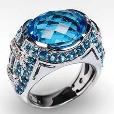 11 Carat Genuine Blue Topaz & Diamond Cocktail Ring 14K White Gold