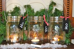 3 Christmas Mason Jars with Silver Wire Handles by aandkaccents, $16.00
