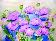 """Lilac Poppies"", painting by artist Meltem Kilic"