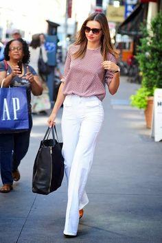 Cute blouse and white pants- Miranda Kerr street style