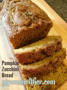 Whole-Wheat-Pumpkin-Zucchini-Bread- so yummy for Fall! Anyone know where I can find some zucchini? Got a couple things I want to make with it. LOL - Food And Drink For You Pumpkin Zucchini Bread, Zucchini Bread Recipes, Zucchini Banana, Shredded Zucchini, Banana Bread, Baking Recipes, Whole Food Recipes, Dessert Recipes, Breakfast Recipes
