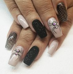 Spooky (but chic) nail designs to see you through Halloween Spider nails The post Spooky (but chic) nail designs to see you through Halloween appeared first on Halloween Nails. Holloween Nails, Cute Halloween Nails, Halloween Acrylic Nails, Halloween Nail Designs, Classy Halloween, Halloween Halloween, Chic Nail Designs, Acrylic Nail Designs, Dark Color Nails