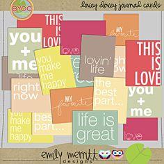 lovey dovey journal cards - emily merritt designs via the Lilypad
