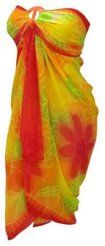 La Leela Multicolor Beach Wrap Swim Hawaiian Sarong Cover up