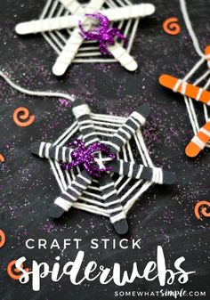 These craft stick spiderwebs are super easy to make, plus you only need a few supplies. They make a great craft for a classroom Halloween party!