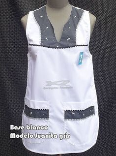 Guardapolvos Artesanales: Falderos Base Blanco Cool Aprons, Adult Bibs, Bib Apron, Scrub Tops, Sewing Clothes, Clothing Patterns, Crochet, Outfits, Blazer