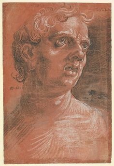 Wolfgang Huber (German, Feldkirch/Vorarlberg ca. 1485/90–1553 Passau), Bust of a Man, 1522. Black and white chalk on red prepared paper. Overall: 11 9/16 x 7 7/8 in. (29.4 x 20 cm). The Metropolitan Museum of Art, New York, A. Hyatt Mayor Purchase Fund, Marjorie Phelps Starr Bequest, 1983 (1983.1115.9).