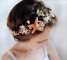 seashell headpiece bridal headband beach wedding by thehoneycomb, $105.00